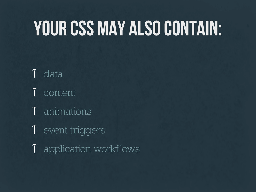 your CSS may also contain: data content animati...