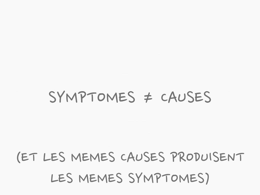 SYMPTOMES ≠ CAUSES (ET LES MEMES CAUSES PRODUIS...