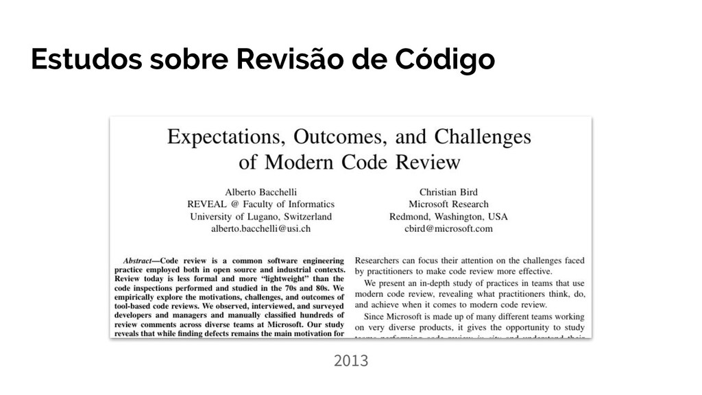 Estudos sobre Revisão de Código 2013