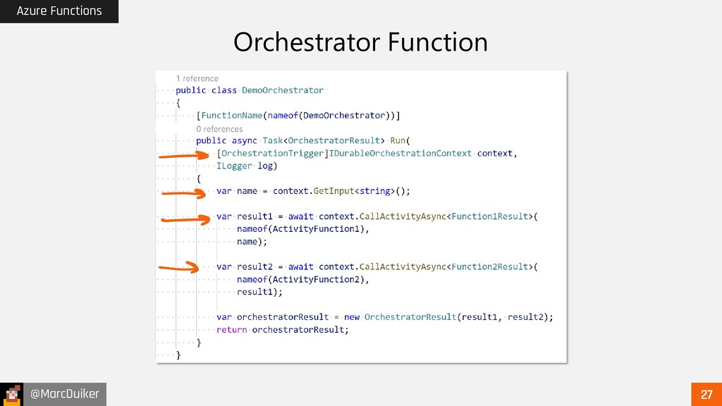 @MarcDuiker Azure Functions Orchestrator Functi...