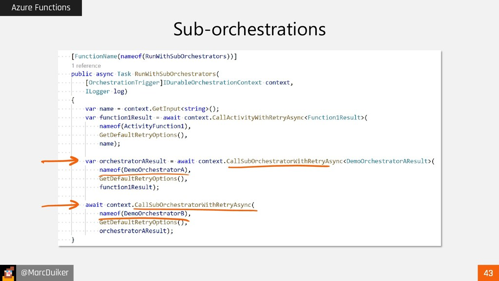 @MarcDuiker Azure Functions Sub-orchestrations