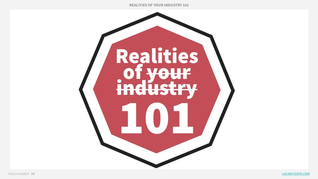 PAGE NUMBER 14 Realities of your industry 101 R...