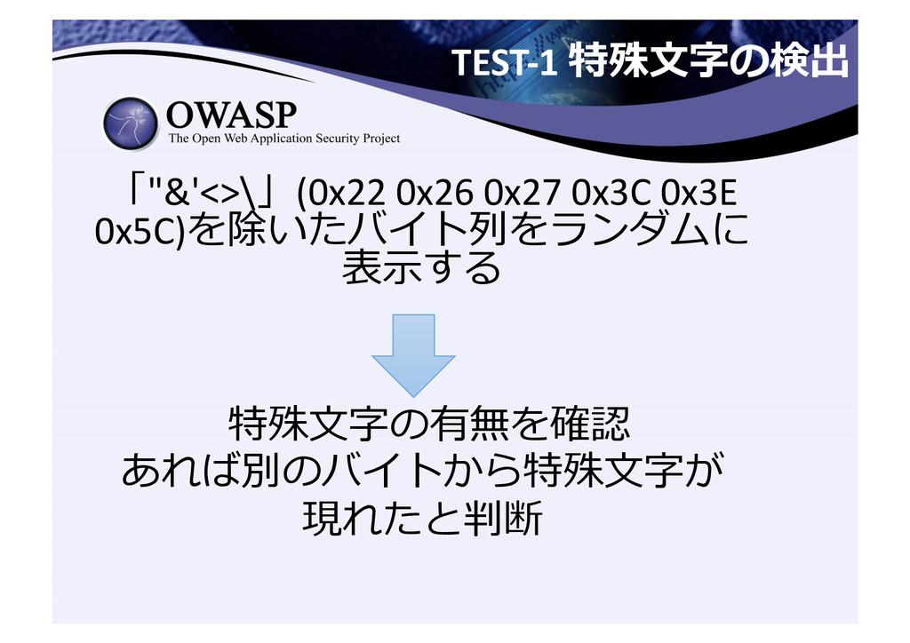 "TEST-‐1 特殊⽂文字の検出  「""&'<>\」(0x22 0x26..."
