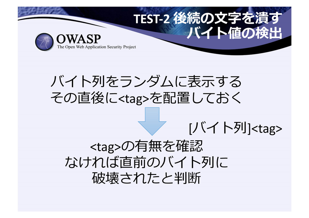 TEST-‐2 後続の⽂文字を潰す  バイト値の検出  バイト列列をランダ...