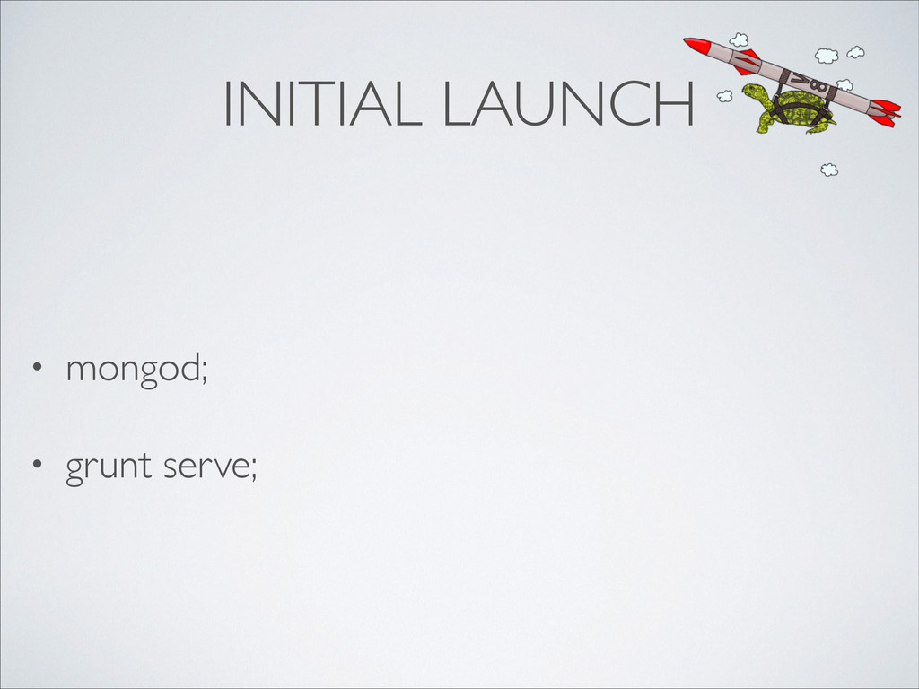 INITIAL LAUNCH • mongod;	 