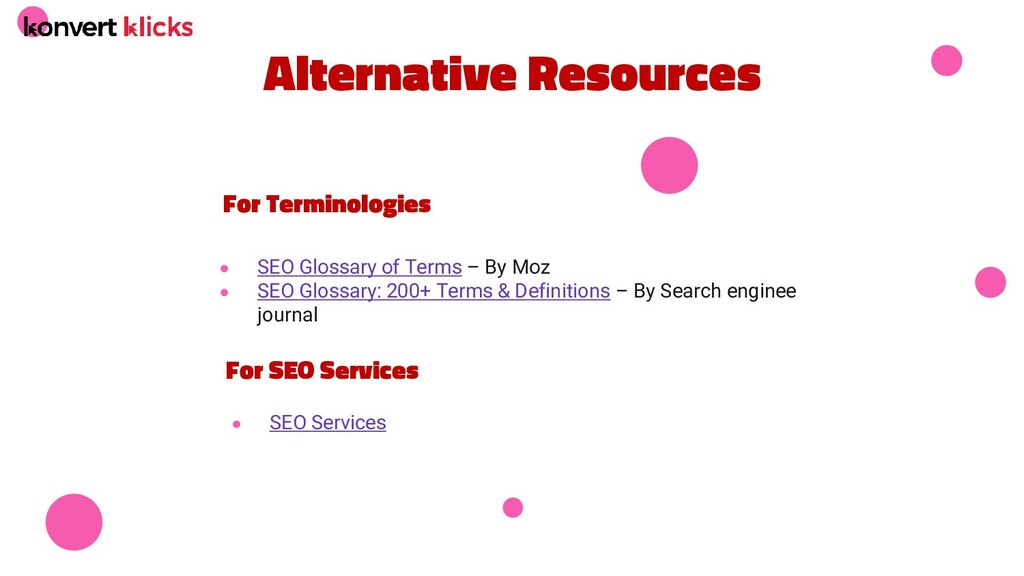 Alternative Resources ● SEO Glossary of Terms –...