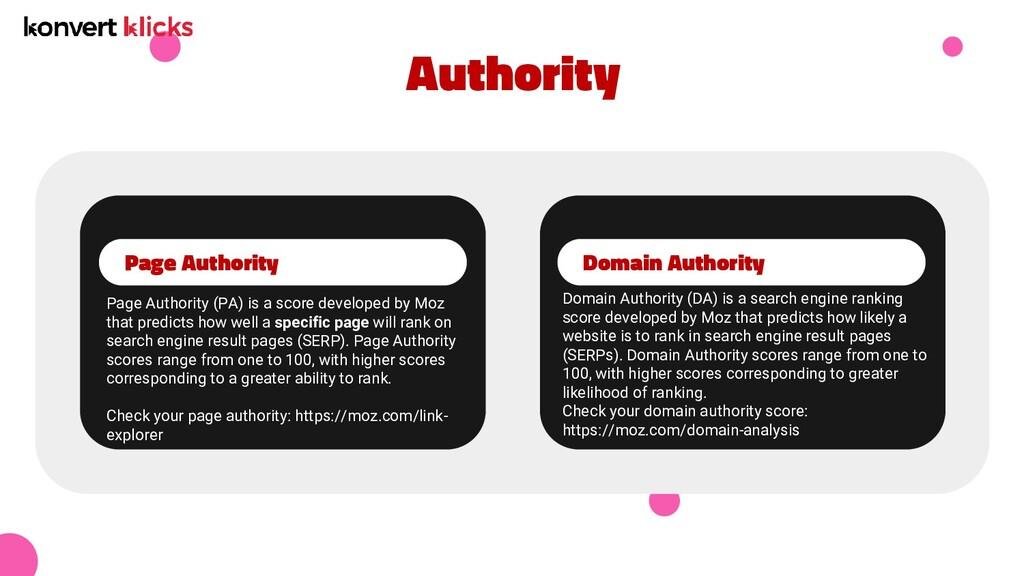Authority Page Authority Domain Authority Page ...