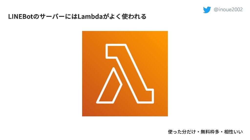 @inoue2002 @inoue2002 LINEBotのサーバーにはLambdaがよく使わ...
