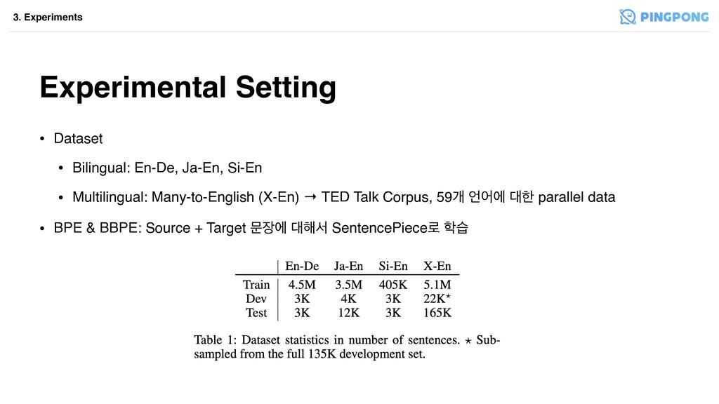 Experimental Setting • Dataset • Bilingual: En-...