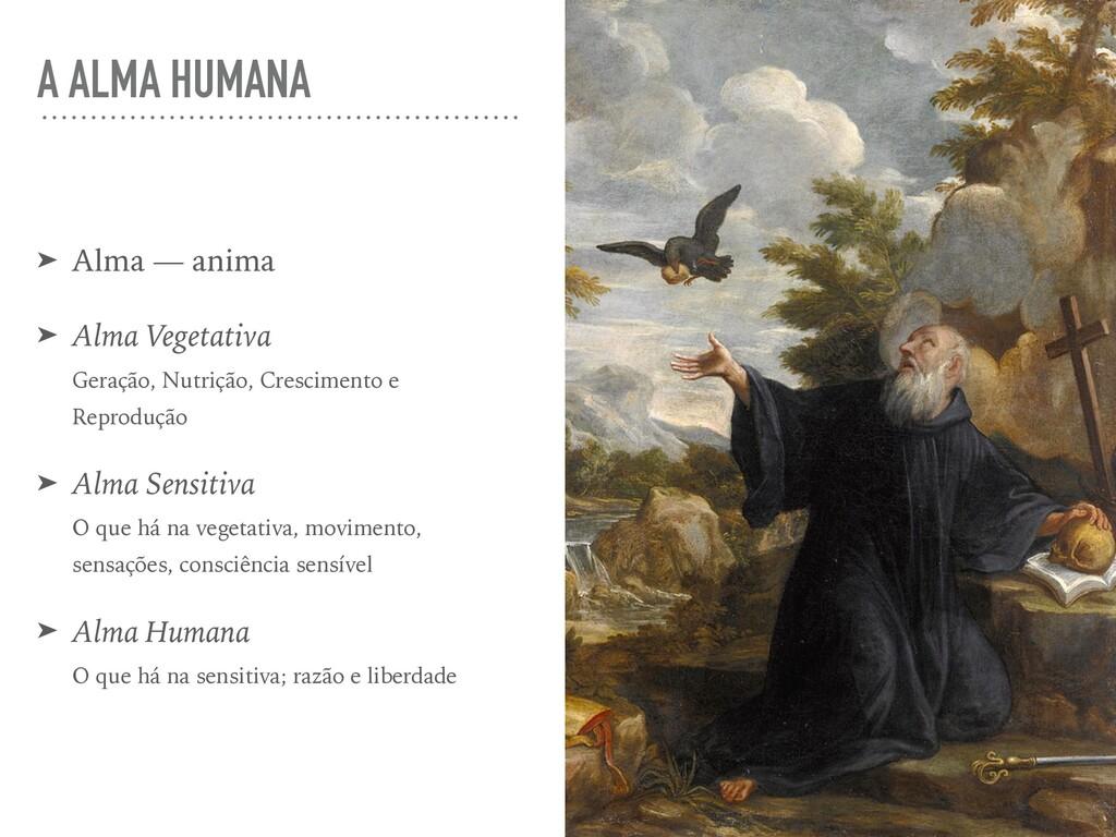 A ALMA HUMANA ➤ Alma — anima ➤ Alma Vegetativa ...