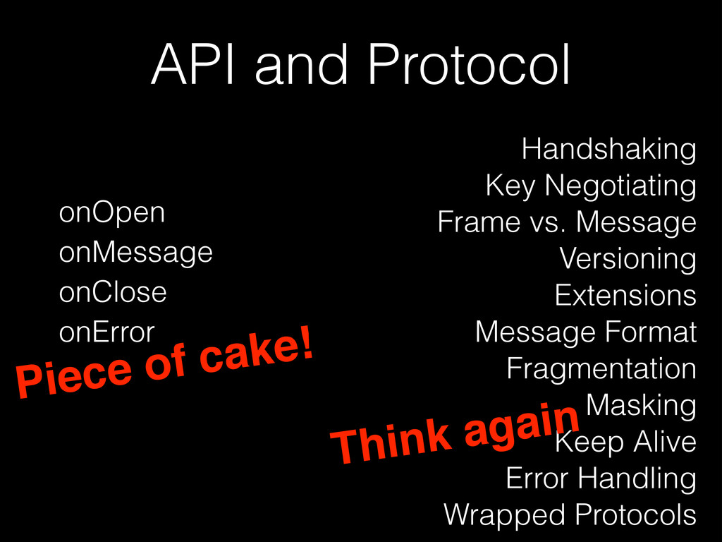 API and Protocol onOpen onMessage onClose onErr...