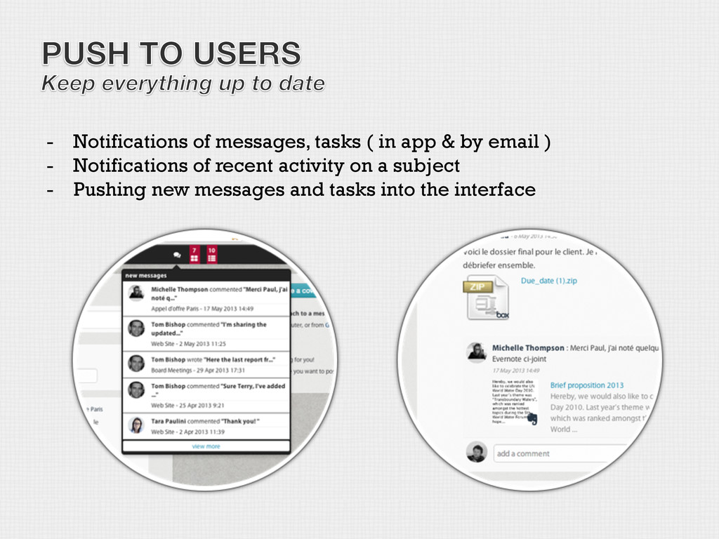 -  Notifications of messages, tasks ( in app & ...