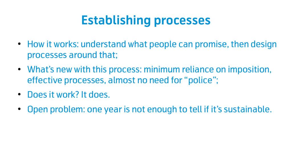 Establishing processes ● How it works: understa...
