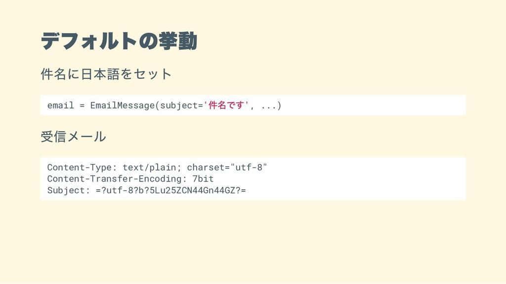 デフォルトの挙動 件名に日本語をセット email = EmailMessage(subjec...