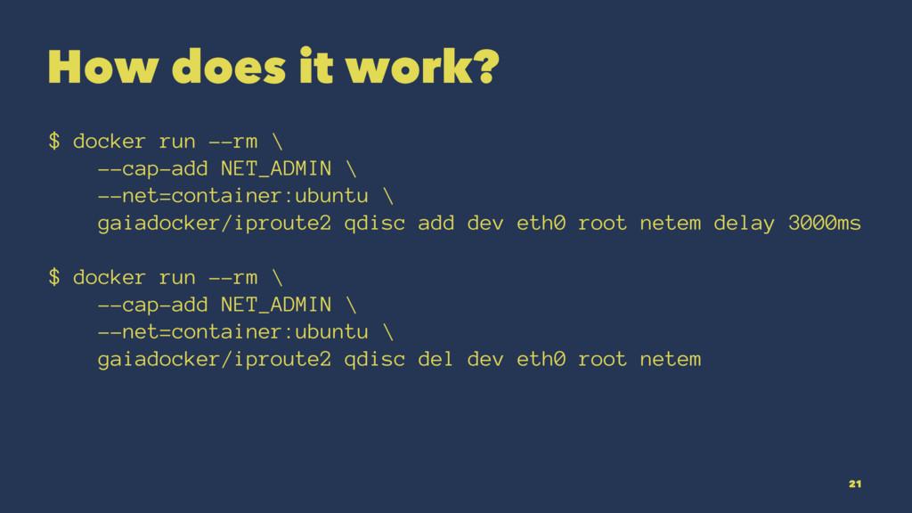 How does it work? $ docker run --rm \ --cap-add...