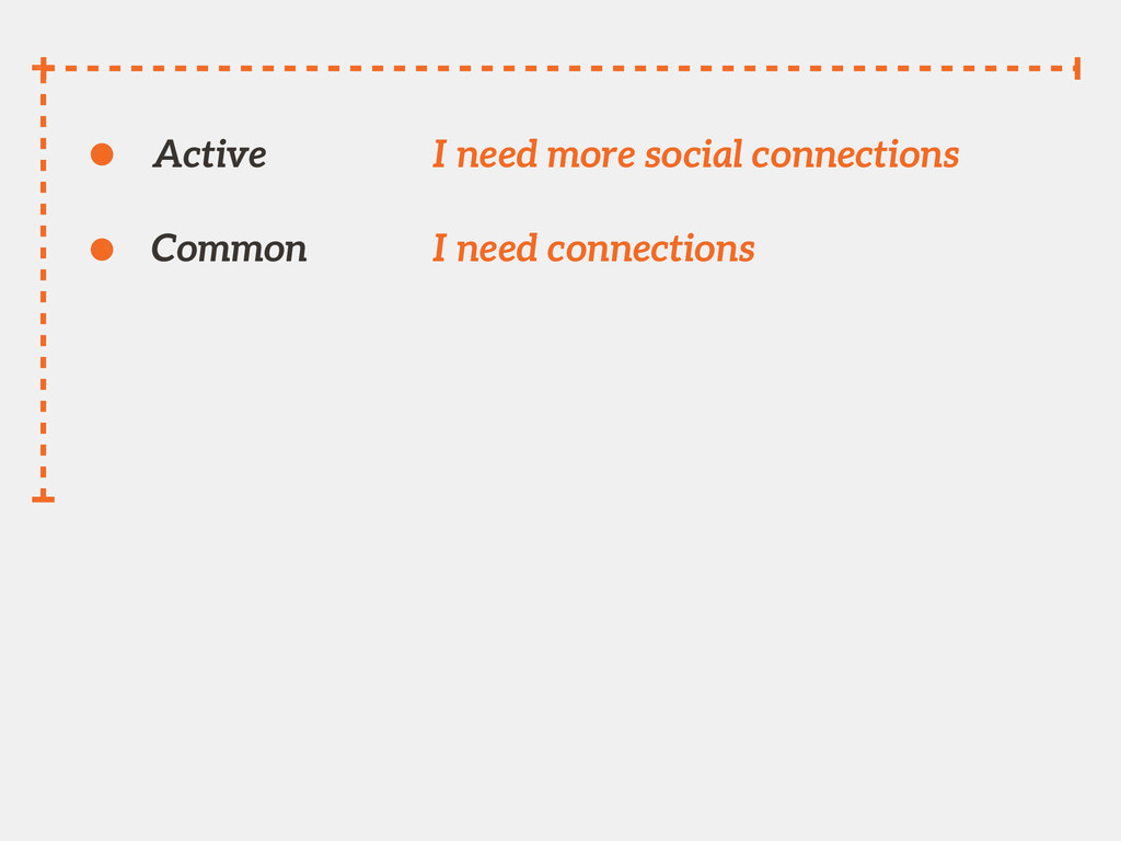Active I need more social connections Common I ...