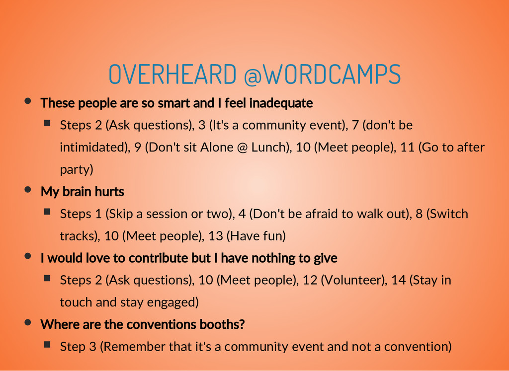 OVERHEARD @WORDCAMPS These people are so smart ...