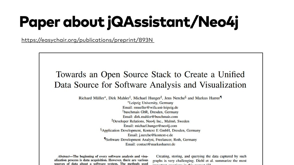 Paper about jQAssistant/Neo4j https://easychair...