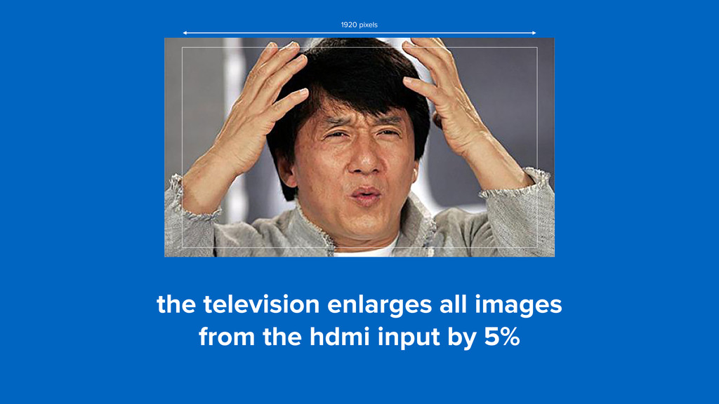 the television enlarges all images 