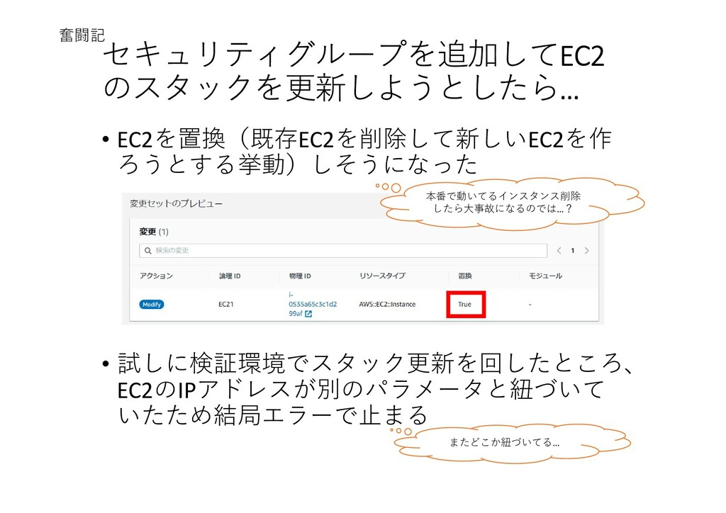 セキュリティグループを追加してEC2 のスタックを更新しようとしたら… • EC2を置換(既存...