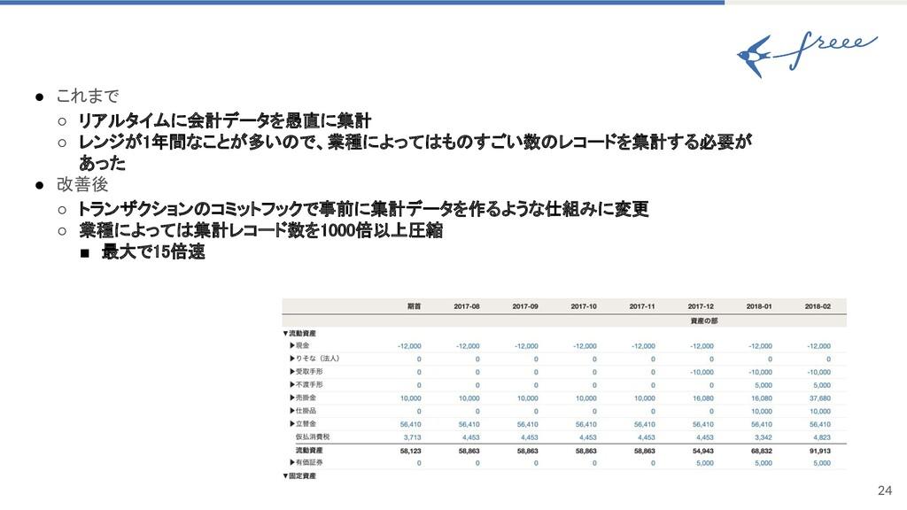 24 ● これまで ○ リアルタイムに会計データを愚直に集計 ○ レンジが1年間なことが多...
