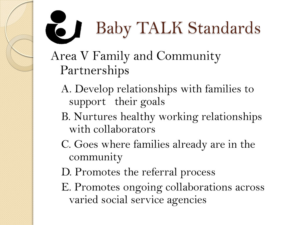 Baby TALK Standards Area V Family and Community...