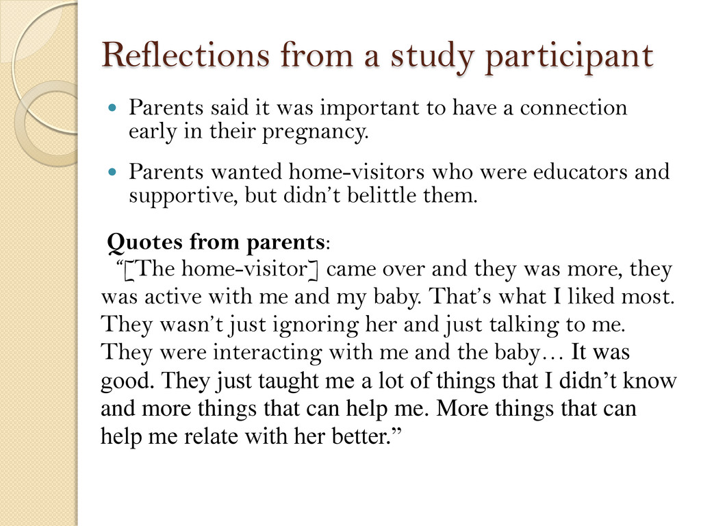 Reflections from a study participant  Parents ...