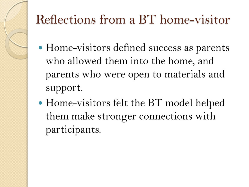 Reflections from a BT home-visitor  Home-visit...