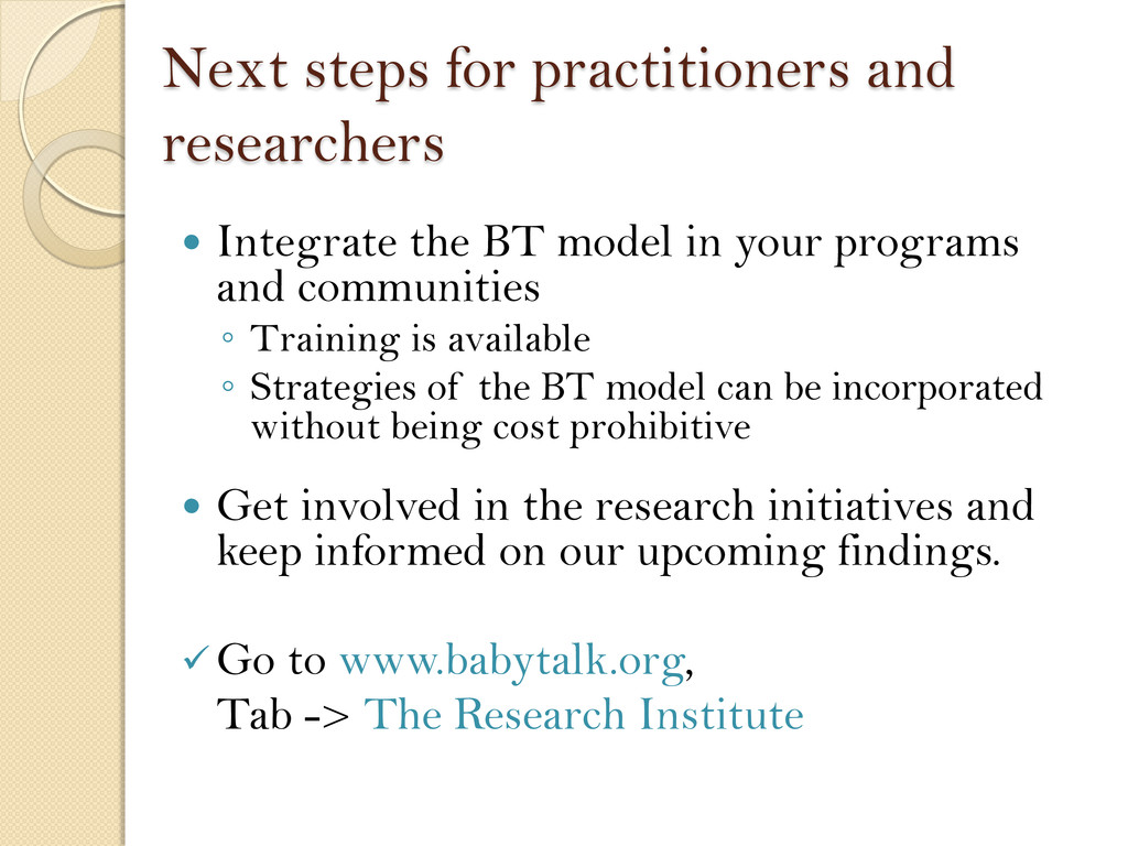 Next steps for practitioners and researchers  ...
