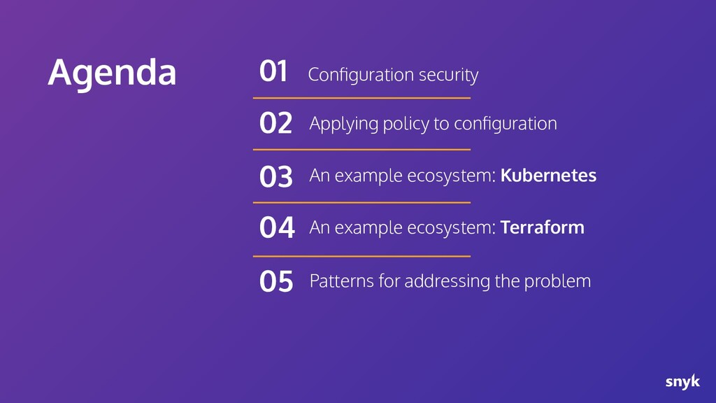 Agenda Configuration security 01 Applying policy...