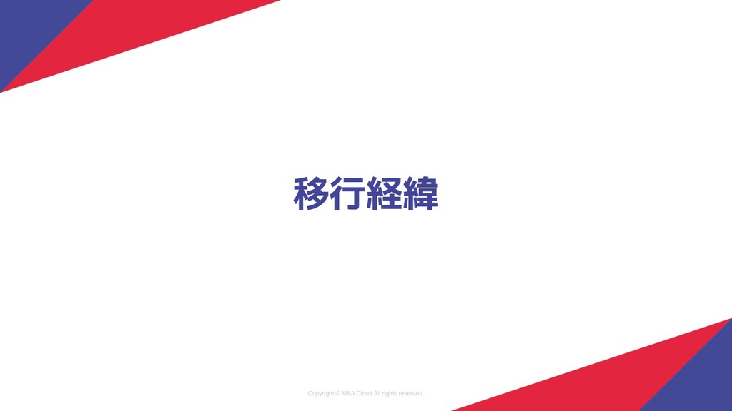 Copyright © M&A Cloud All rights reserved. 移行経緯