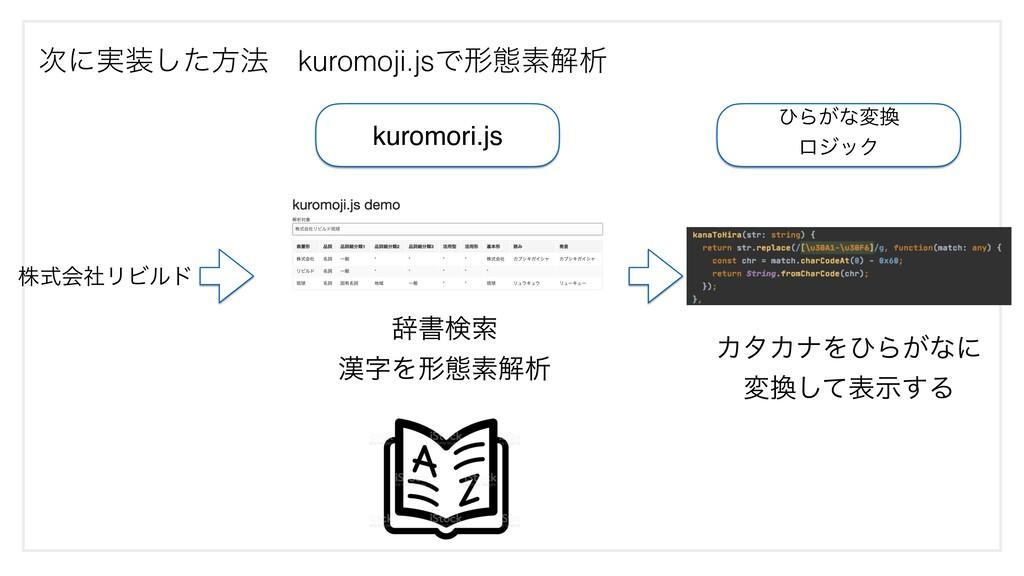 kuromori.js ࣙॻݕࡧ Λܗଶૉղੳ ͻΒ͕ͳม ϩδοΫ ΧλΧφΛͻΒ͕ͳ...