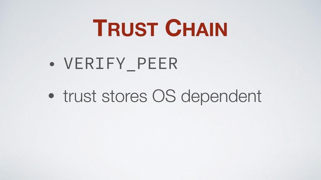 TRUST CHAIN • VERIFY_PEER • trust stores OS dep...