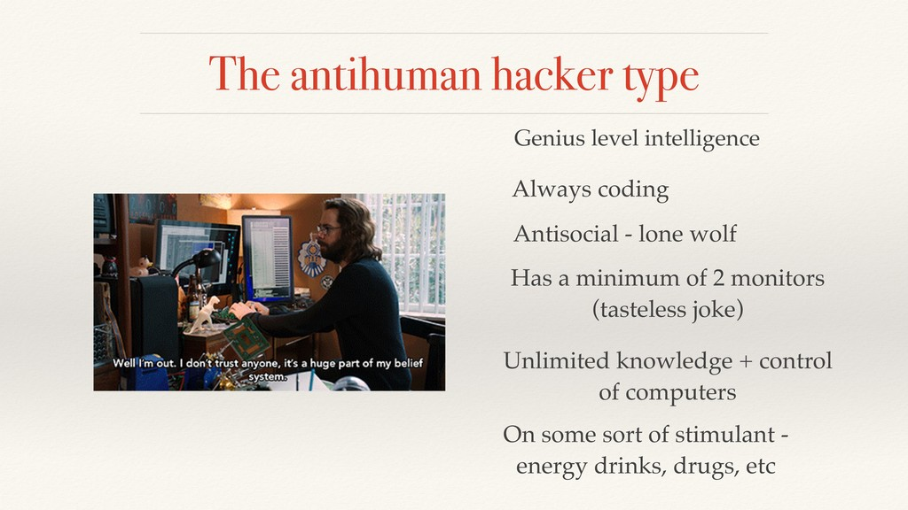 The antihuman hacker type Genius level intellig...