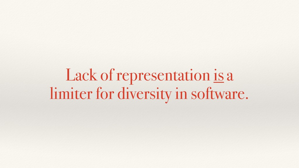 Lack of representation is a limiter for diversi...