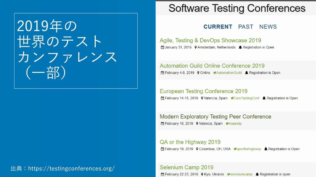 2019年の 世界のテスト カンファレンス (一部) 出典:https://testingco...