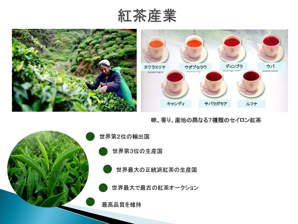 紅茶産業 世界第2位の輸出国 世界最大の正統派紅茶の生産国 世界第3位の生産国 世界最大で最古...