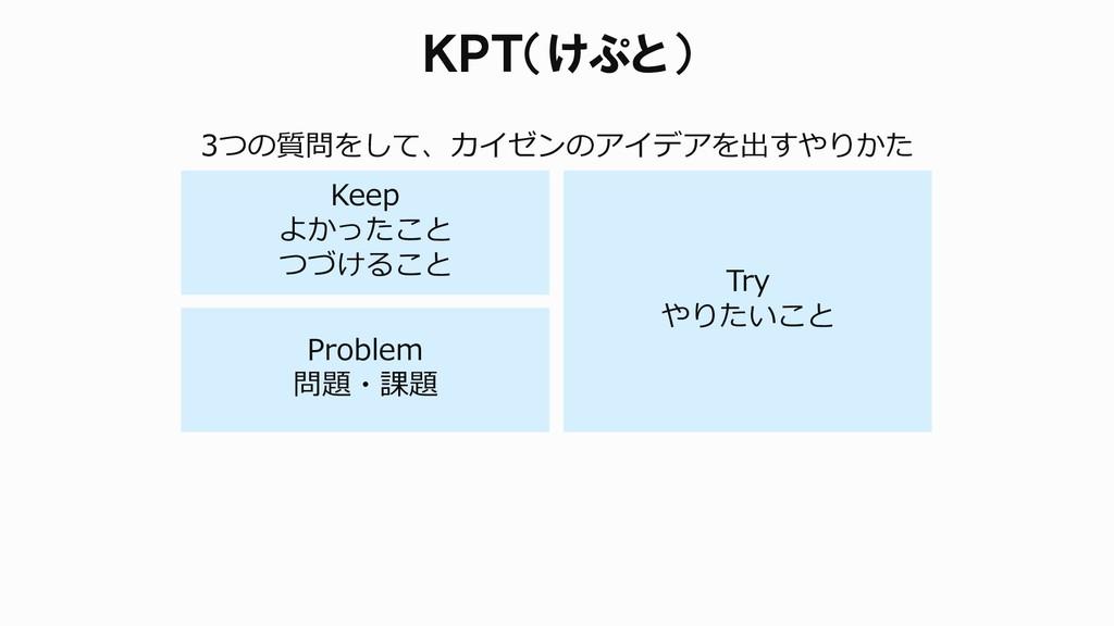 KPT(けぷと) Keep よかったこと つづけること Problem 問題・課題 Try や...