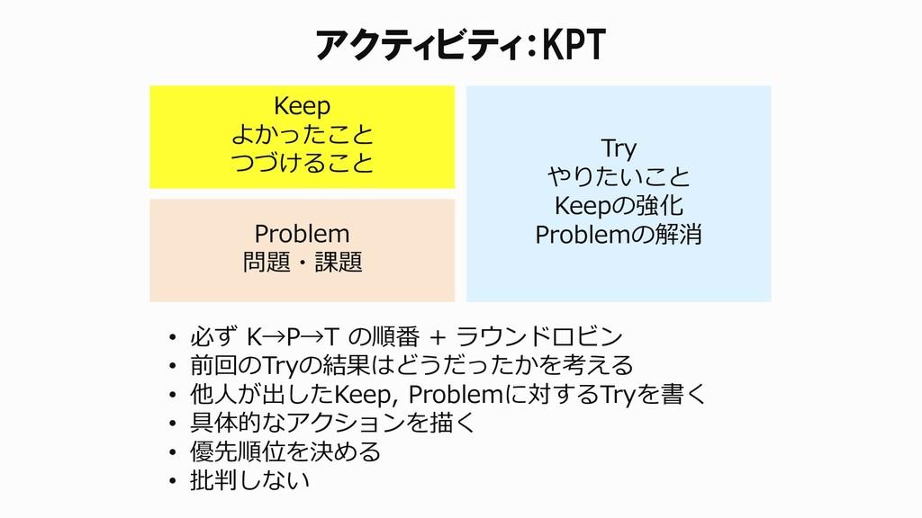 アクティビティ:KPT Keep よかったこと つづけること Problem 問題・課題 Tr...
