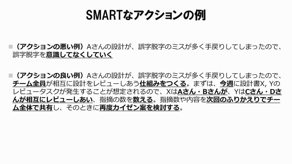 SMARTなアクションの例 (アクションの悪い例)Aさんの設計が、誤字脱字のミスが多く手戻り...
