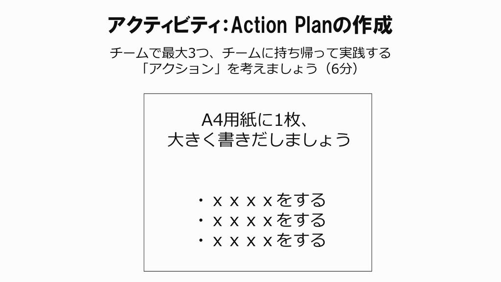 アクティビティ:Action Planの作成 チームで最大3つ、チームに持ち帰って実践する 「...