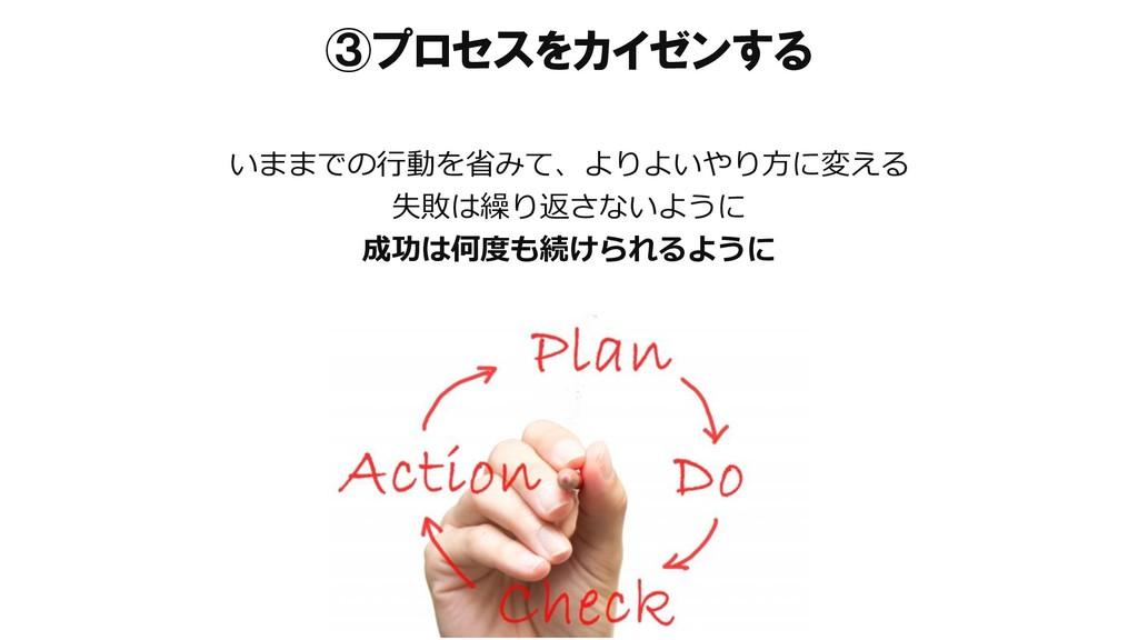 ③プロセスをカイゼンする いままでの行動を省みて、よりよいやり方に変える 失敗は繰り返さないよ...