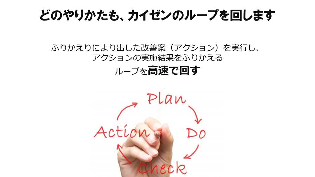 どのやりかたも、カイゼンのループを回します ふりかえりにより出した改善案(アクション)を実行し...