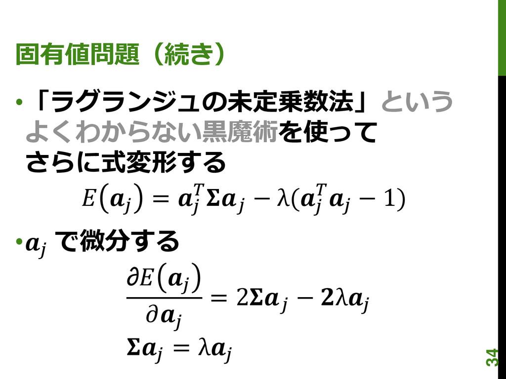 固有値問題(続き) •「ラグランジュの未定乗数法」という よくわからない黒魔術を使って さらに...