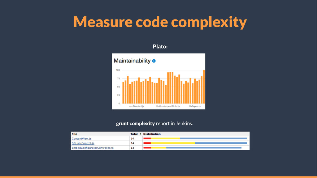 Measure code complexity Plato: grunt complexity...