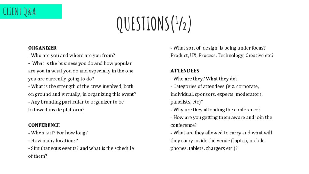 QUESTIONS(½) ORGANIZER - Who are you and where ...