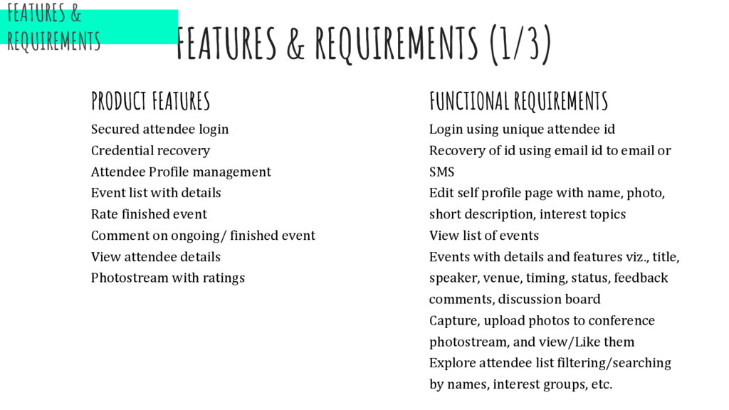 FEATURES & REQUIREMENTS (1/3) PRODUCT FEATURES ...