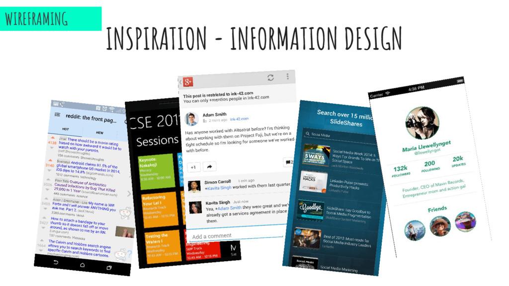 INSPIRATION - INFORMATION DESIGN WIREFRAMING
