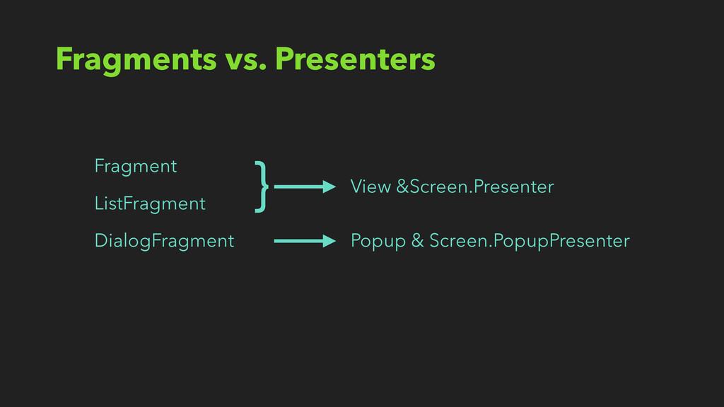 Fragments vs. Presenters ListFragment Fragment ...