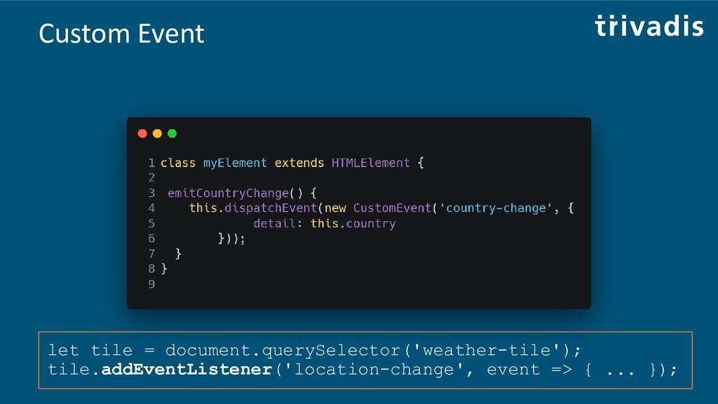 Custom Event let tile = document.querySelector(...